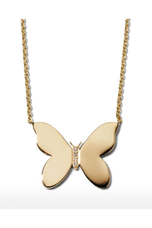 Sydney Evan 14k Plain Butterfly Necklace w/ Diamonds