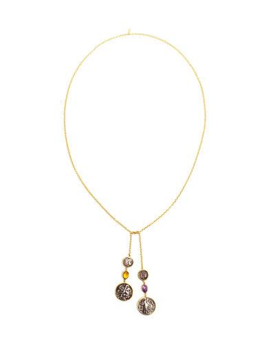 18k Empress Coin Lariat Necklace