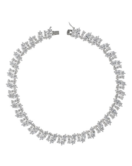 Golconda by Kenneth Jay Lane Cubic Zirconia Diagonal Marquise Necklace