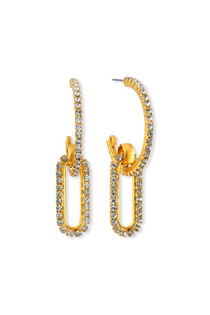Elizabeth Cole Charlisle Crystal-Link Hoop Earrings