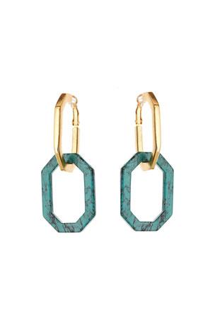Oscar de la Renta Octagonal Link Earrings
