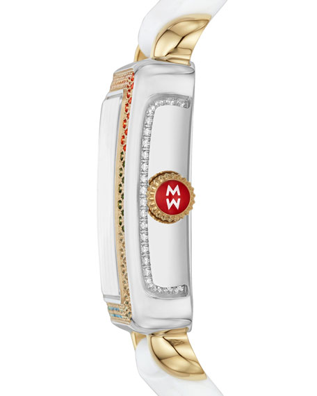 MICHELE Deco Madison Mid Carousel 2-Tone Diamond Silicone Watch
