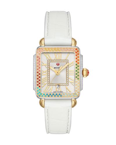 Deco Madison Mid Carousel 2-Tone Diamond Silicone Watch