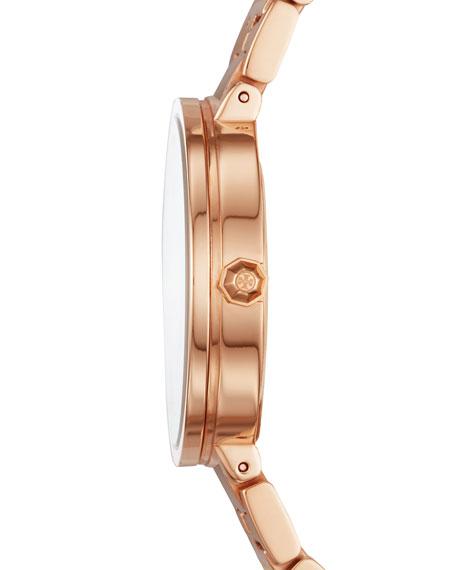 Tory Burch 36mm Reva Watch w/ T-Link Bracelet, Rose Gold