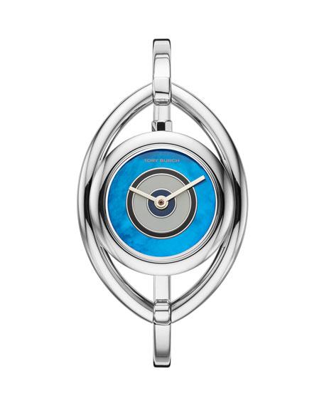 Tory Burch 25mm Evil Eye Bangle Watch, Silver