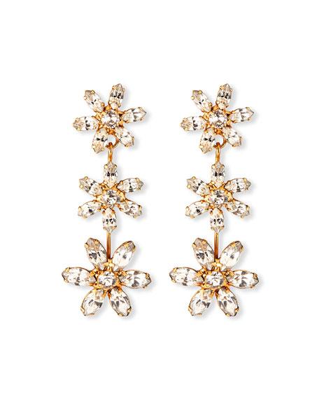 Jennifer Behr Holly Crystal 3-Flower Earrings