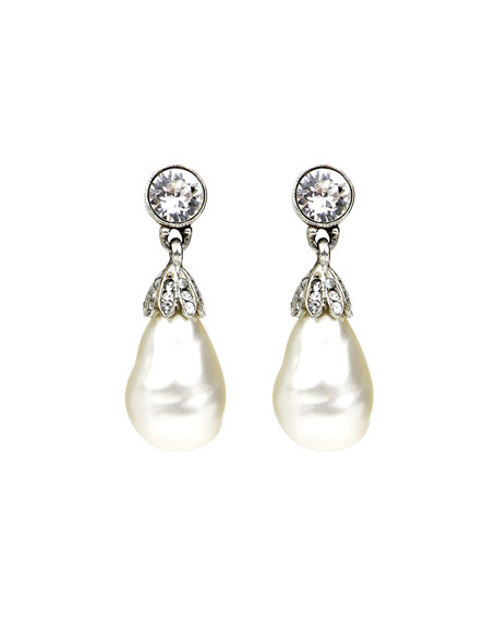 Image 1 of 2: Ben-Amun Baroque Glass-Pearl Crystal Drop Earrings