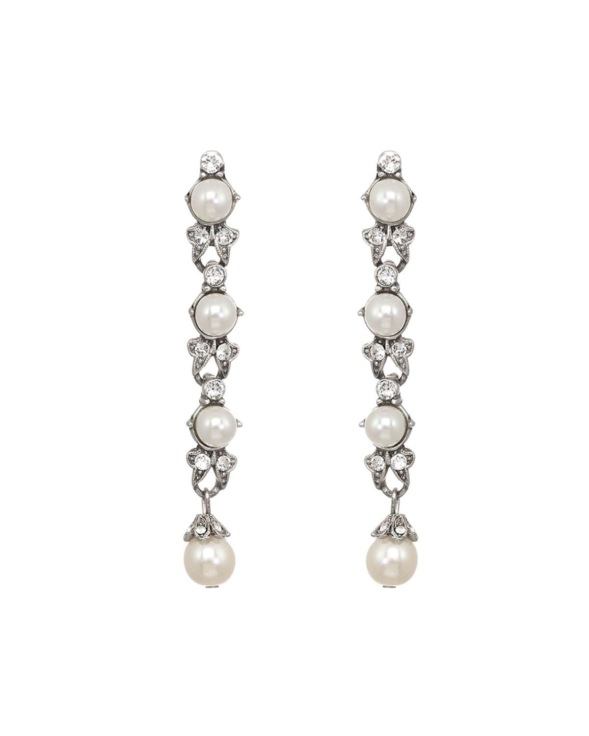 Linear Glass Pearl And Crystal Drop Earrings by Ben Amun