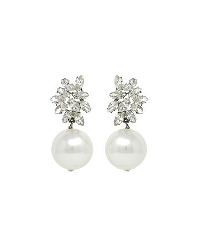 Crystal Glass-Pearl Clip-On Earrings