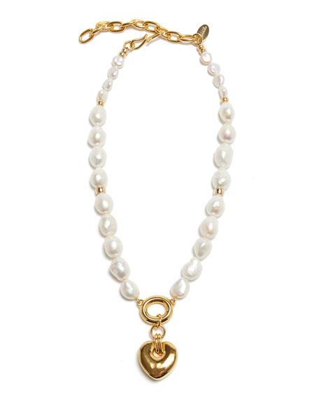 Lizzie Fortunato Heart Break Pearl Necklace
