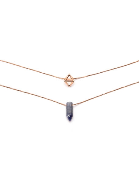 Alex and Ani Sodalite and Octahedron Necklaces, Set of 2
