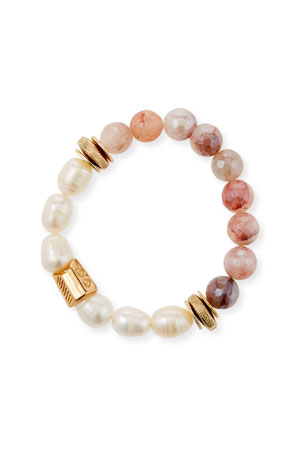 Akola Half Pearl and Bead Stretch Bracelet