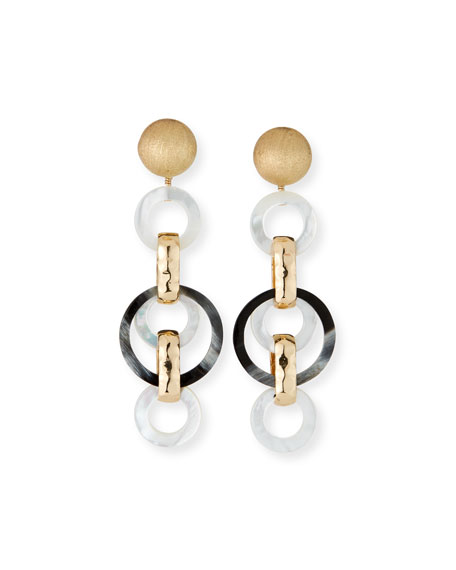 Akola Horn and Mother-of-Pearl Long Clip Earrings