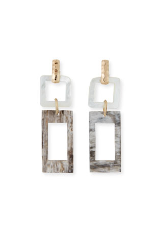 Akola Horn and Mother-of-Pearl Geometric Earrings