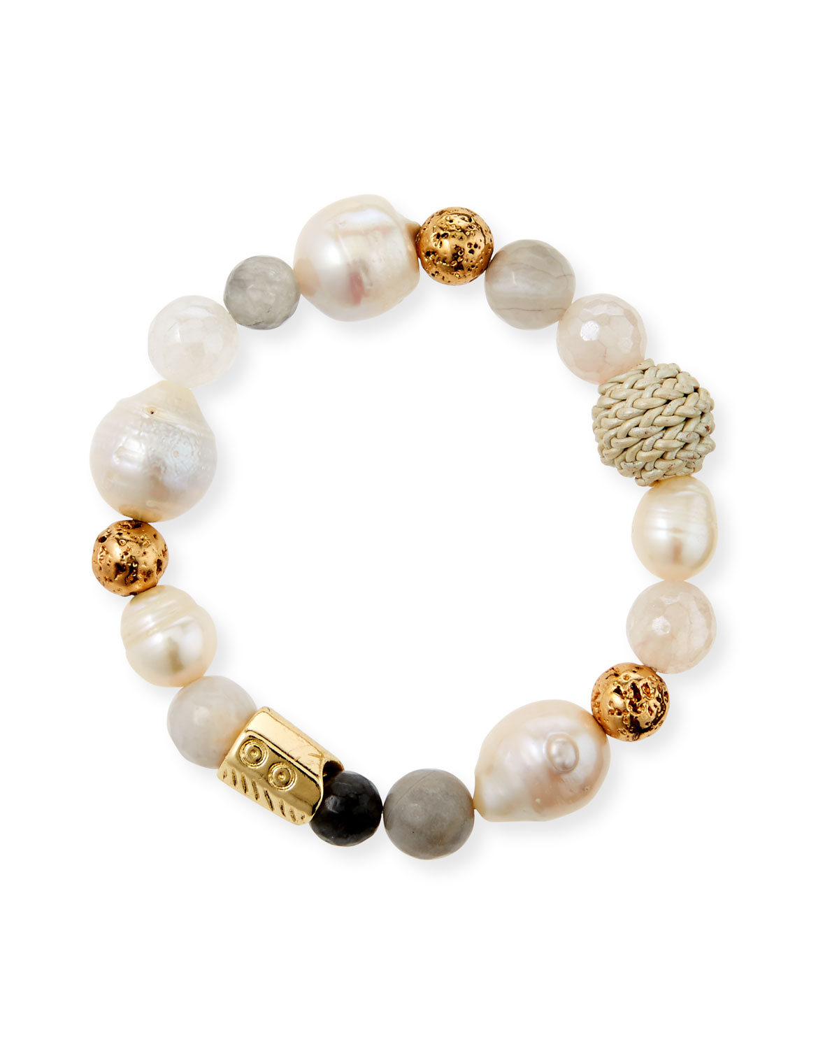 Akola Mixed Pearl and Bead Stretch Bracelet