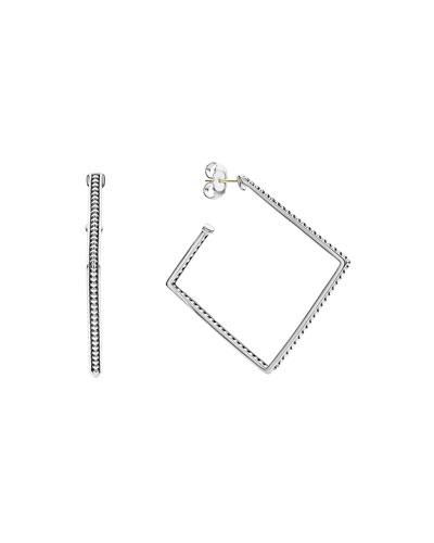 Signature Caviar Square Hoop Earrings  40mm
