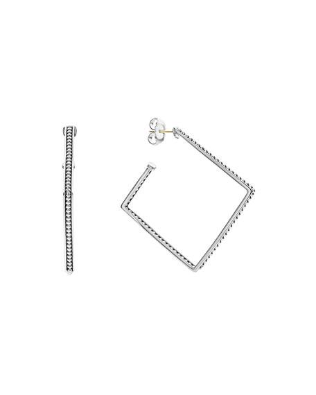 LAGOS Signature Caviar Square Hoop Earrings, 40mm
