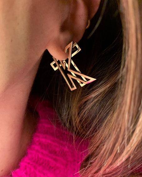 K Kane 14k Chain Letter Hoop Earring, Single