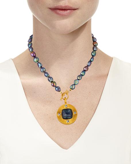 Dina Mackney Pearl-Strand Kyanite Pendant Necklace
