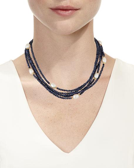 Dina Mackney Sapphire & Pearl Multi-Strand Necklace