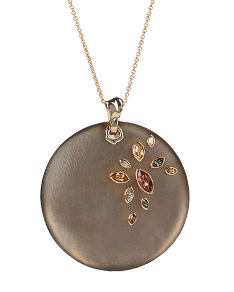 Image 1 of 2: Navette Crystal Large Disc Pendant Necklace, Chocolate