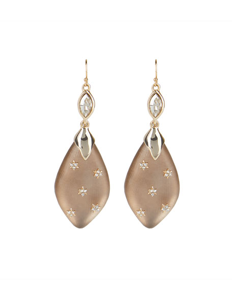 Alexis Bittar Spike Studded Navette Wire Drop Earrings, Chocolate