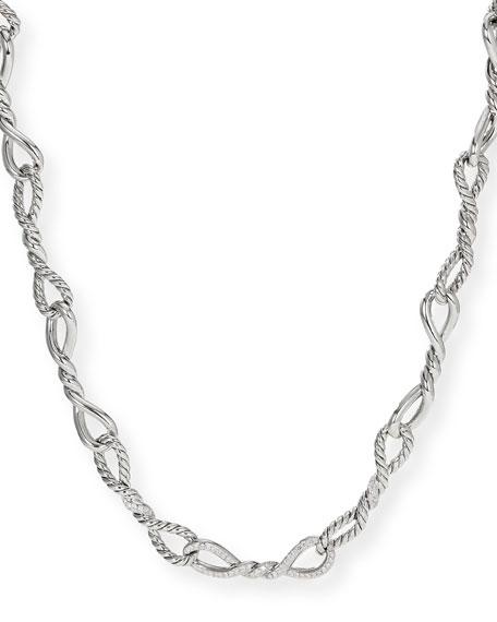 David Yurman Continuance Silver Diamond & Link Necklace,