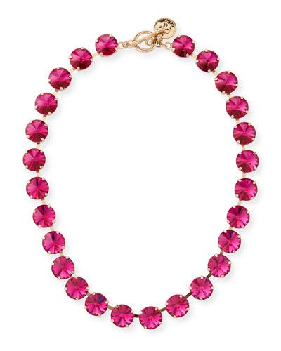 Roxanne Rivoli Crystal Necklace  Fuchsia