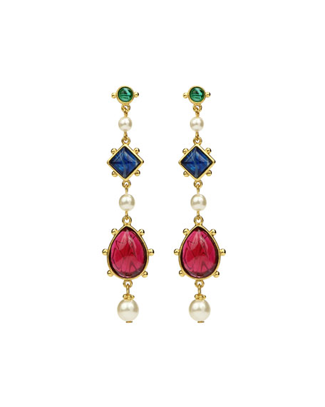 Ben-Amun Glass Multi-Drop Earrings