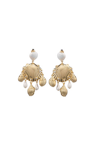 Dannijo Lauren Sea Shell Clip-On Earrings