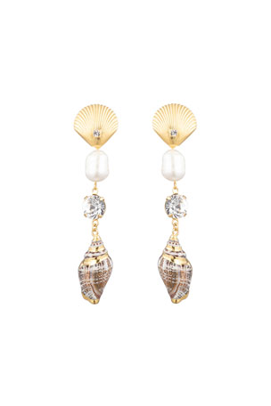 Dannijo Marin Linear Shell Earrings