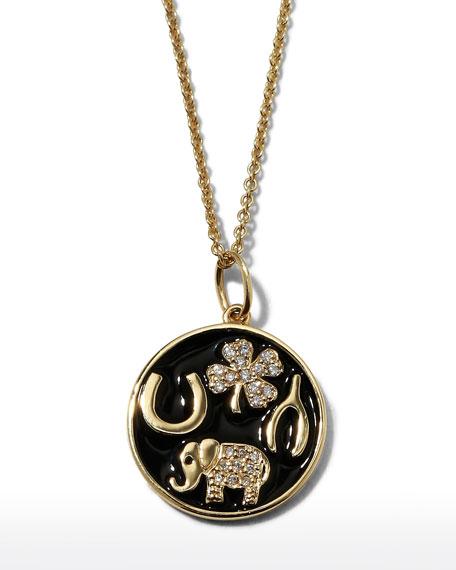 Sydney Evan 14k Luck Tableau Diamond Medallion Necklace, Black