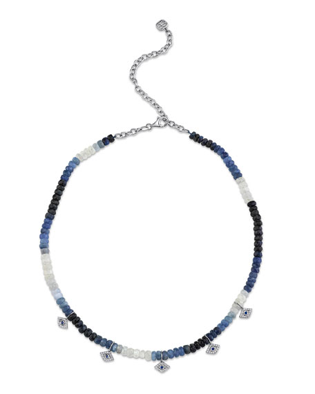 Sydney Evan 14k Diamond Evil Eye Sapphire Necklace