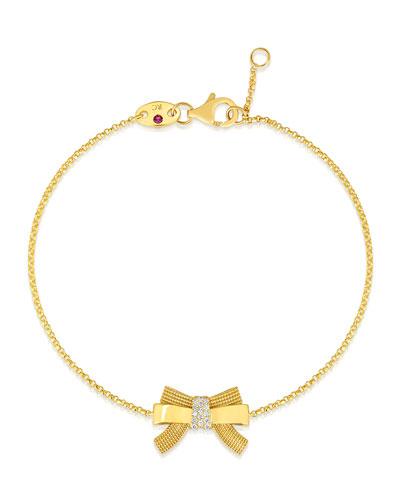 x Disney Cinderella Diamond Bow Bracelet in 18k Gold