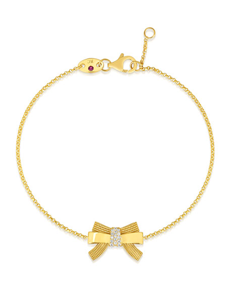 Roberto Coin x Disney Cinderella Diamond Bow Bracelet in 18k Gold