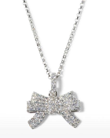 Roberto Coin x Disney Cinderella Diamond Bow Necklace in 18k White Gold