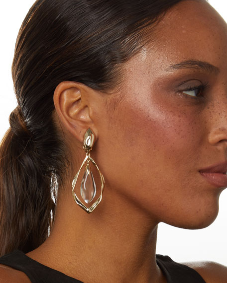 Image 3 of 3: Alexis Bittar Crumpled Metal Framed Clip Earrings