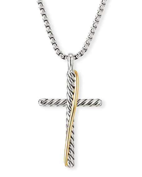David Yurman Crossover Cross Necklace w/ 18k Gold