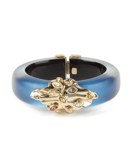 Alexis Bittar Crumpled Metal Navette Hinge Bracelet, Blue