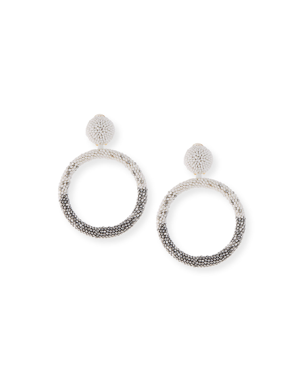 Beaded Hoop Drop Earrings, White/Silver by Oscar De La Renta