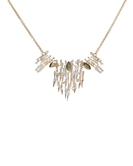 Alexis Bittar Navette Crystal Spiked Small Bib Necklace