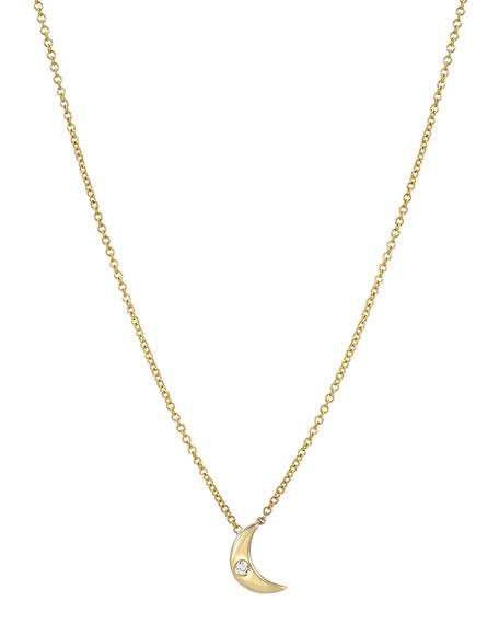 Zoe Lev Jewelry 14k Gold 1-Diamond Moon Necklace
