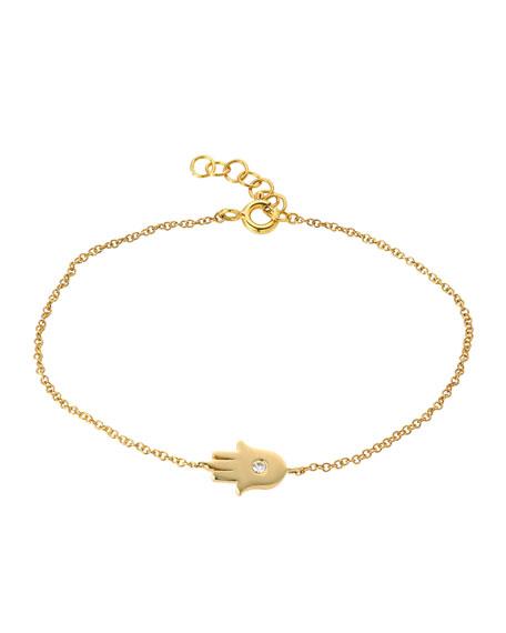 Zoe Lev Jewelry 14k Gold 1-Diamond Hamsa Bracelet
