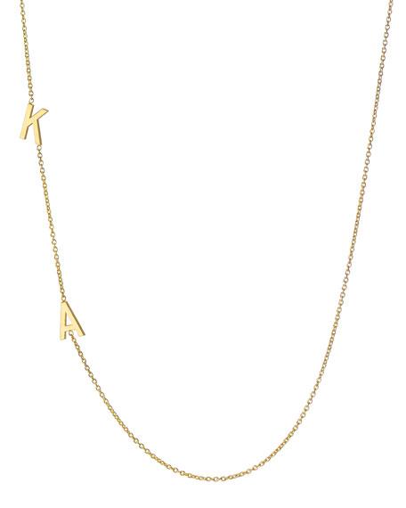 Zoe Lev Jewelry 14k Personalized 2-Initial Asymmetric Necklace