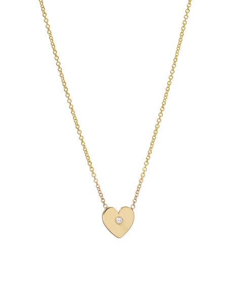 Zoe Lev Jewelry 14k Gold 1-Diamond Heart Necklace