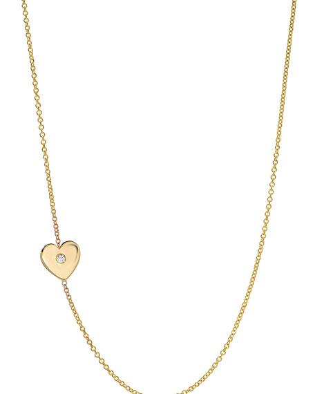 Zoe Lev Jewelry 14k Gold Asymmetric 1-Diamond Heart Necklace
