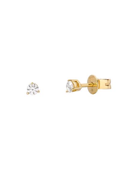 Zoe Lev Jewelry 14k Gold 3-Prong Diamond Stud Earrings