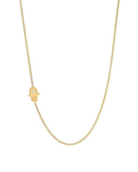 Zoe Lev Jewelry 14k Gold Asymmetric 1-Diamond Hamsa Necklace
