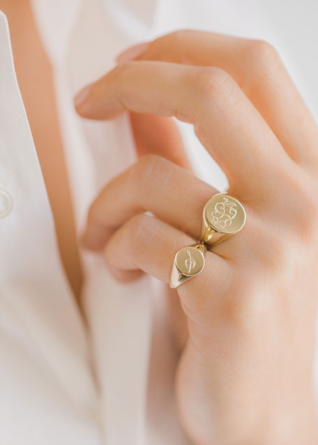 Image 3 of 3: Zoe Lev Jewelry Small Personalized Initial Signet Ring, Size 4-8