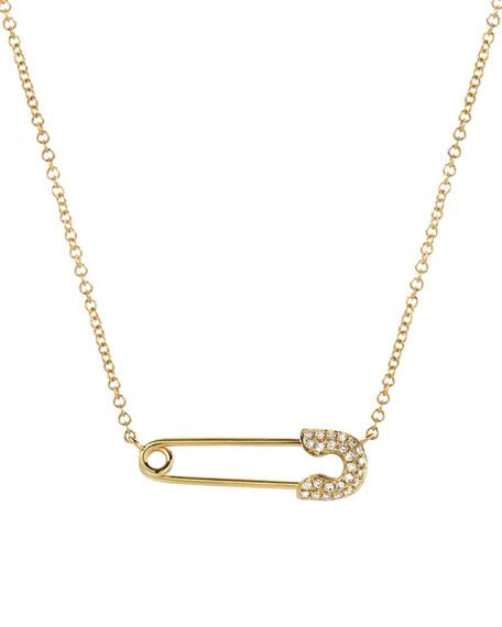 Zoe Lev Jewelry 14k Diamond Safety Pin Necklace